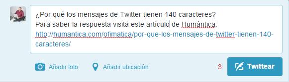 mensaje de Twitter