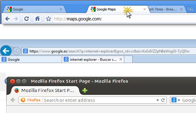 pestañas navegadores