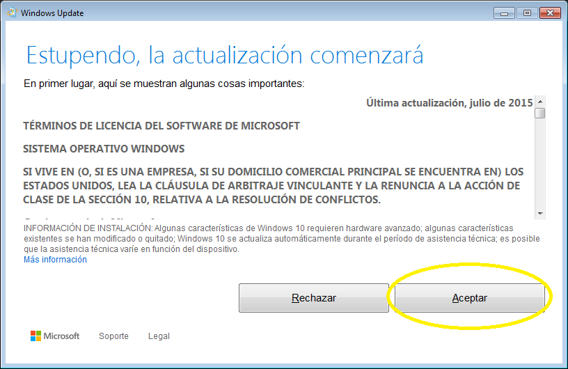 Aceptar Windows 10