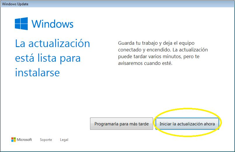 Iniciar actualización Windows 10