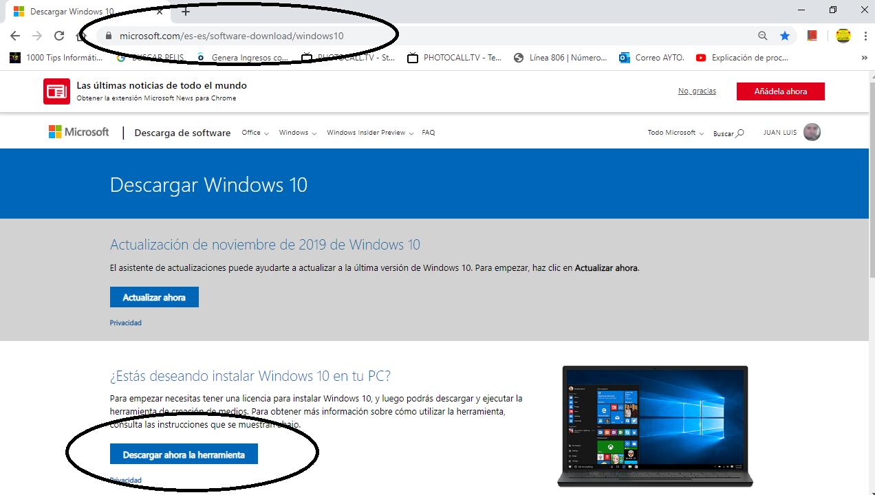 Descargar windows 10.